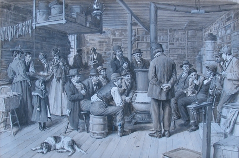 """Arthur B. Frost painting """"The Country Store as a Social Center""""."""