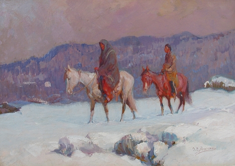 "Oscar Berninghaus painting ""The Snow Covered Trail""."