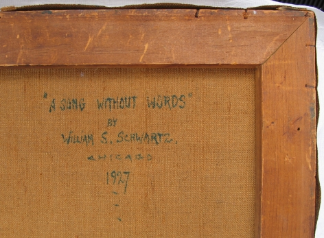 """Verso inscription of """"A song without Words by William S. Schwartz Chicago 1927""""."""