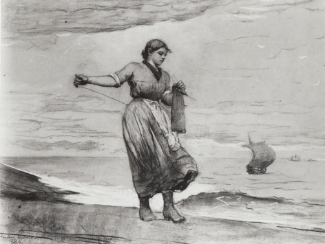 """Sold charcoal by Winslow Homer entitled """"Fisher Girl Knitting""""."""