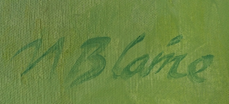 """Signature on """"Bouquet of Peonies and Empire Lily"""" by Nell Blaine."""