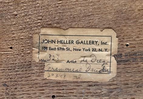 "Verso label on ""Ceremonial Dancers"" by Julio De Diego."
