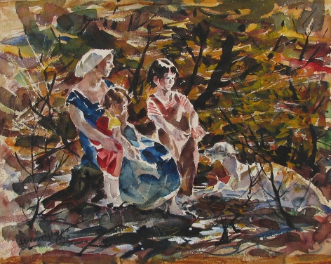 "John Costigan watercolor entitled ""Mother and Children""."