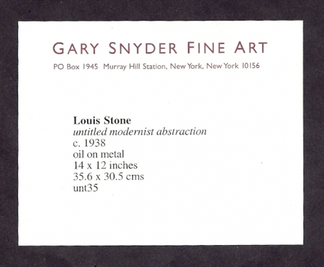 Label verso on Untitled Abstraction by Louis Stone.