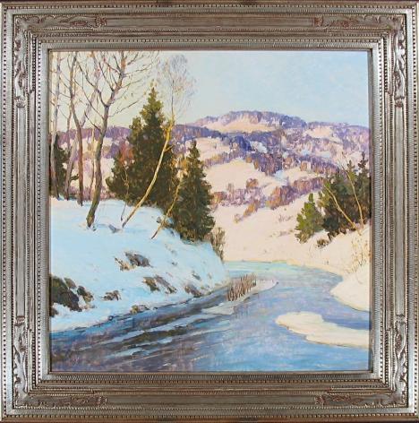 "Frame on ""Winter Hillside"" by Walter Koeniger."