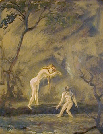 """Sold painting by Louis Eilshemius entitled """"Nudes Washing Hair""""."""