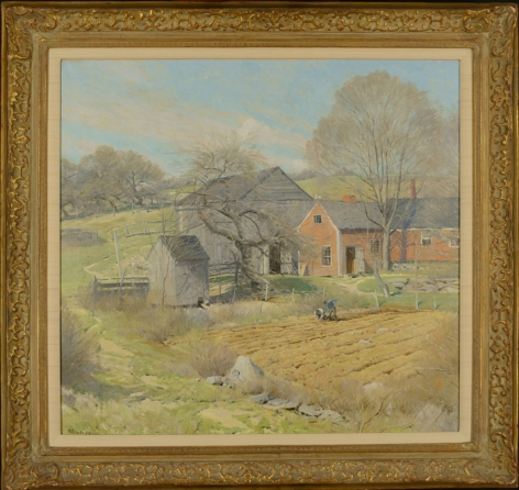 Frame view of Red House, Rindge, NH by Ogden Pleissner.