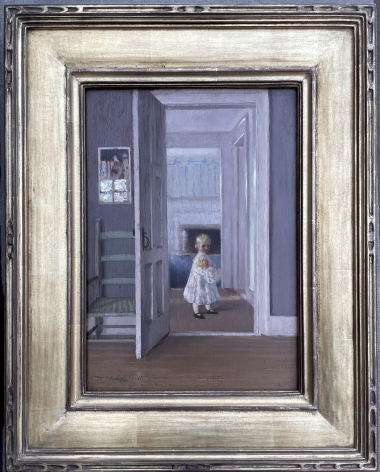 """Frame on Detail of """"Girl with Doll"""" by William Wallace Gilchrist."""