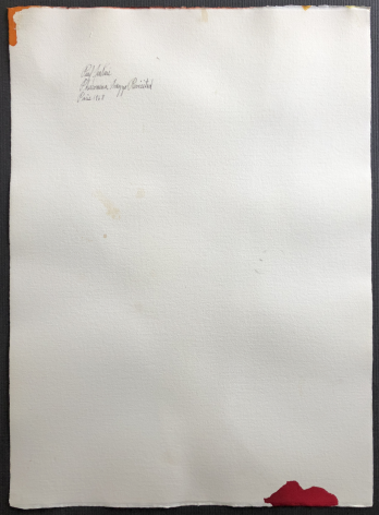 """Verso full sheet of """"Phenomena Arezzo Revisited"""" watercolor by Paul Jenkins."""