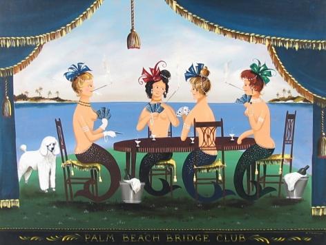 "Sold painting by Ralph Cahoon entitled ""Palm Beach Bridge Club""."