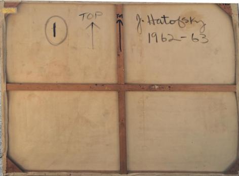 "Signature on ""Untitled Artist's Estate #30"" by Julius Hatofsky."