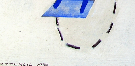Signature on 1938 untitled abstraction by Vaclav Vytlacil.