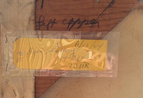 "Label on ""Untitled Artist's Estate #30"" by Julius Hatofsky."