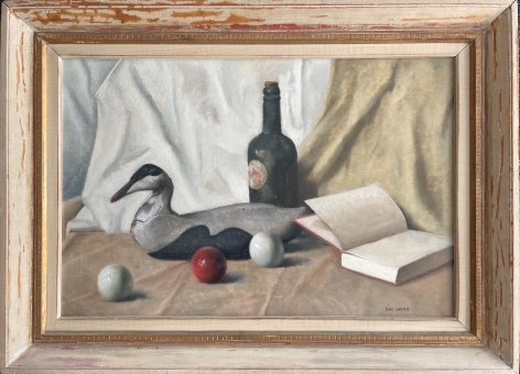 """Frame on """"The Wood Decoy"""" by Paul Sample."""
