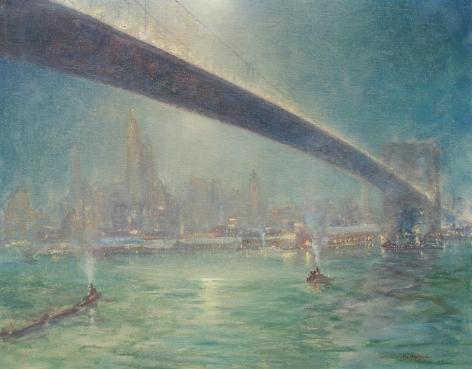 "Johann Berthelsen painting ""Bridge Nocturne""."