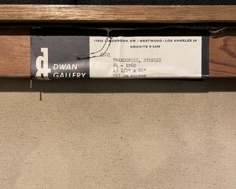 Dwan label verso on painting #4 by Stanley Twardowicz.