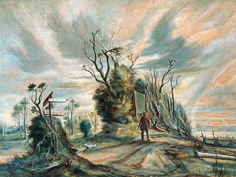 """Tempera painting by William Palmer entitled """"The Lonely Road""""."""