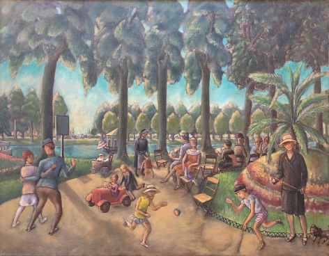 """Oil painting by William Palmer entitled """"Parisian Park""""."""