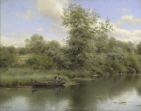Sold oil painting of Figures in Boat by Emilio Sanchez-Perrier.