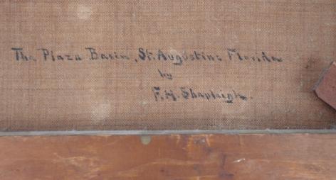 """Verso inscription """"The Plaza Basin"""" by Frank Shapleigh."""