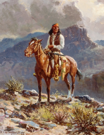 Sold oil painting of Apache Scout by Olaf Wieghorst.