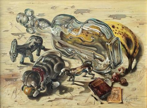 "Aaron Bohrod oil painting ""Bremen Town Musicians""."