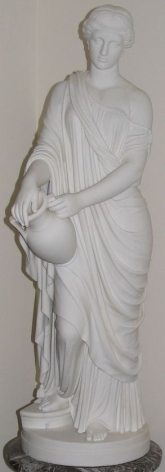 "White marble statue entitled ""Woman of Samaria"" by William Rinehart."