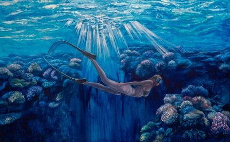 """Underwater Dreamer - Self Portrait as a Free Diver"" oil painting by Nikolina Kovalenko."