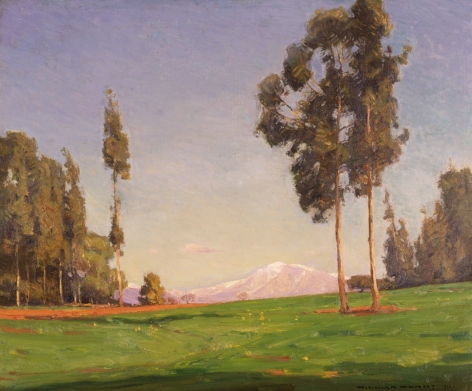 Sold oil painting of landscape with mountain by William Wendt.