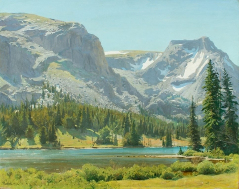 "Sold oil painting by Ogden Pleissner entitled ""Jenny Lake, Wyoming""."
