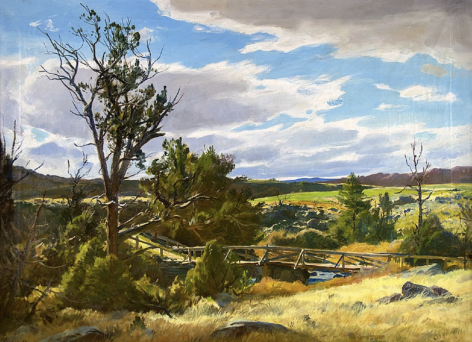 "Sold oil painting entitled ""Upper Circle Bridge Wyoming"" by Ogden Pleissner."