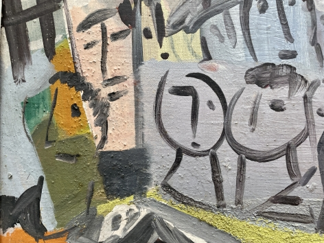 """Detail of """"City Scene with Faces"""" by Vaclav Vytlacil."""