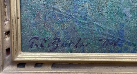 """Signature on """"Farm Orchard in Winter"""" by Theodore Butler."""