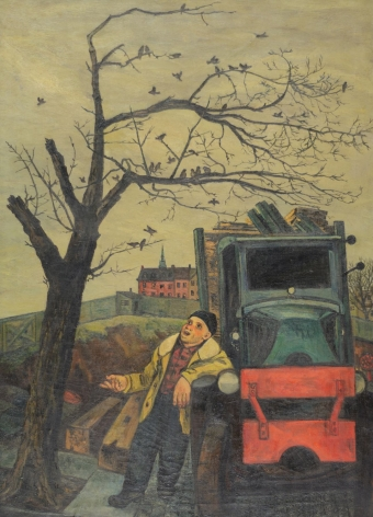 "Oil painting by Gregorio Prestopino entitled ""The Junkman's Serenade""."