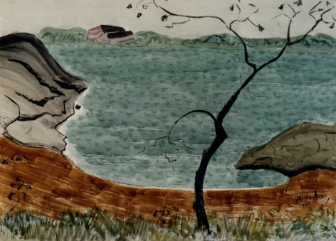Sold watercolor of cove with tree in foreground by Milton Avery.