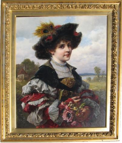 """Frame on """"Girl in Elegant Dress"""" by Ferdinand Wagner."""