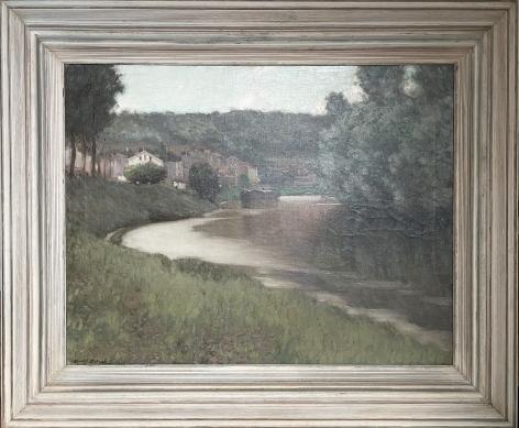 """Frame of """"River Scene"""" by Edward Dufner."""