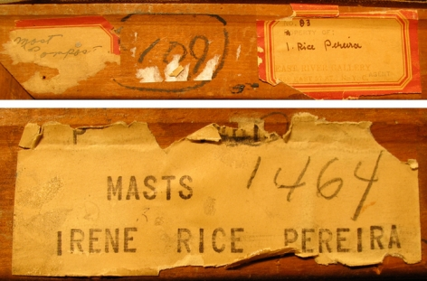 Labels verso on Masts by Irene Rice Pereira.
