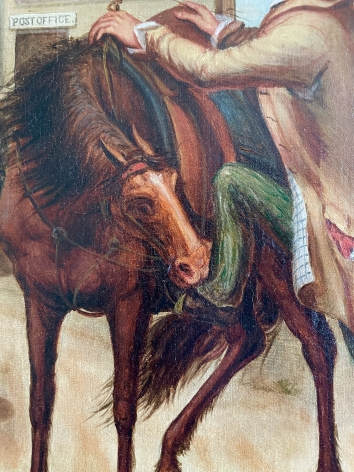 Close up of the newly purchased horse in Horse Trade Scene by Otis Bullard.