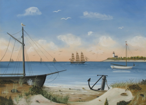 "Martha Cahoon oil painting entitled ""Quiet Bay with Boats and Lighthouse in Distance""."