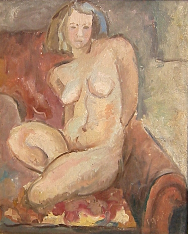 Oil painting of the artist's wife by Hans Burkhardt.