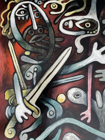 """Detail of """"The Magician"""" painting by Julio De Diego."""