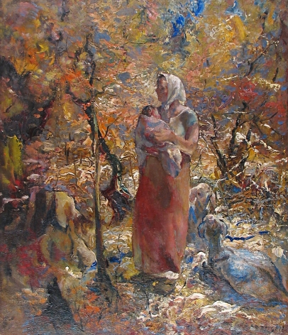 """John Costigan oil painting entitled """"Mother and Child""""."""