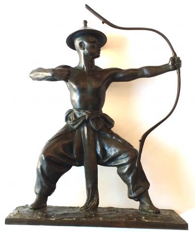 Bronze sculpture of Mongolian Dancer by Malvina Hoffman.