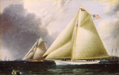 James E. Buttersworth untitled painting of two yachts racing left from sold archive.