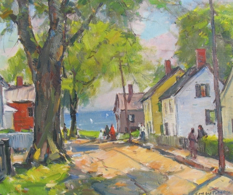 """Sold oil painting by Carl William Peters entitled """"New England Village""""."""