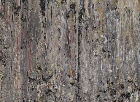Surface detail of Rum Boat by Larry Poons.