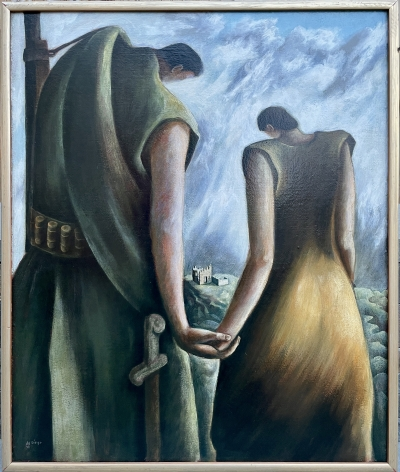 Frame view of Homage to the Spanish Republic 1938 oil painting by Julio De Diego.