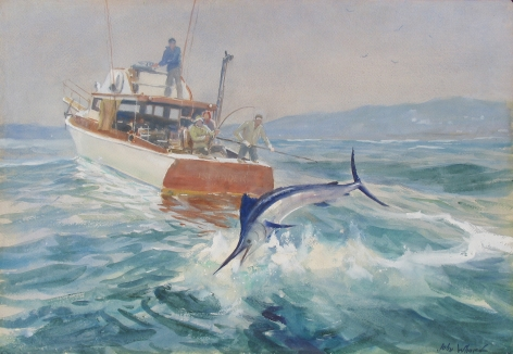 "John Whorf watercolor titled ""Landing Marlin""."