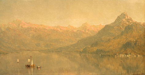 """Sold Sanford Gifford oil painting entitled """"Lago di Como""""."""